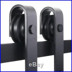 Sliding Barn Single Wood Door Hardware Roller Track Kit Antique Style 1.83M
