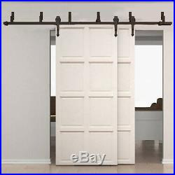 Sliding Bypass Barn Door Hardware Double Track Hanger Kit Basic Rustic Arrow Set