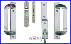 Sliding Door Lock Hardware 2-Panel Gliding Patio Satin Nickel Handle Reversible