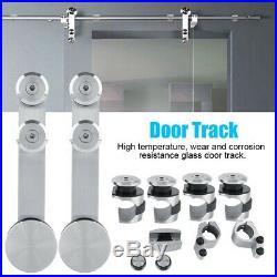 Sliding Glass Shower Barn Door Track Stainless Steel Top Mount Hardware Tool Kit