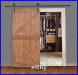 Solid Core Knotty Alder Natural Primed Barn Door With Sliding Hardware Track Set