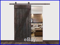 Solid Dark Walnut Wood Interior Painted Black Barn Door with Sliding Hardware Set
