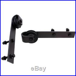 Stable 12FT Black Country Sliding Barn Double Wood Door Hardware Closet Kit US R