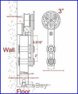 Stainless Steel Movable Spoke Wheel Brushed Sliding barn Wood Door Hardware Kit