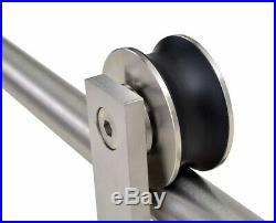 Stainless Steel Single Sliding Barn Door Hardware Kit 10 foot Smart Standard