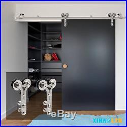 Stainless Steel Sliding Barn Door Hardware Closet Track Kit Free Shipping