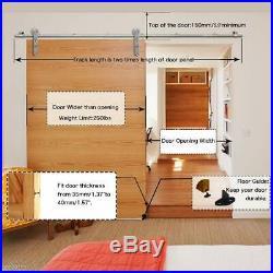Stainless Steel Sliding Barn Door Hardware Closet Track Kit for Wood/Glass Door