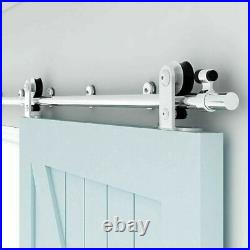 Stainless Steel Sliding Barn Door Hardware Kit 4-16FT Track For Single Wood Door