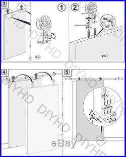 Stainless steel sliding barn wood door hardware top mounted barn hanger track
