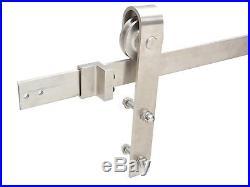 TMS 8FT Satin Stainless Steel Modern Style Barn Wood Sliding Door Hardware Set