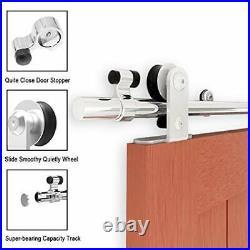 TSMST 200CM/6.6FT Stainless Steel Sliding Barn Door Hardware Kit Track Roller