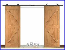 DIYHD 8FT Brushed Stainless Steel Double Sliding Barn Door Hardware,Double Head Hollow Cut Long Roller,Fit Door Width 24