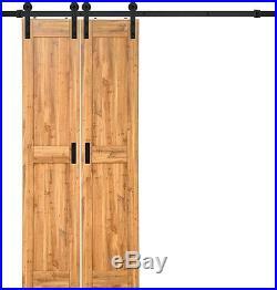 TruPorte 18 in. X 84 in. Pine Duplex MDF Barn Door with Sliding Door Hardware