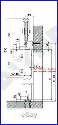 Two-Side Close/Soft Open Industrial Wheel Sliding Barn Door Track Hardware Kit