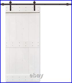 UKN 38 in X 84 White Stained 2 Panel Barn Door with Sliding Hardware Wood Includ