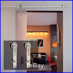 Universal Stainless Steel Sliding Barn Door Hardware Kit For Wooden & Glass Door