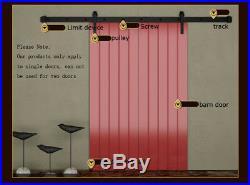 Used 8ft Wood Door Hardware Track Kit Vintage Strap Industrial Wheel Sliding
