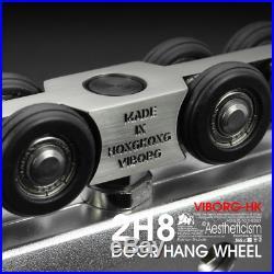 VIBORG Sliding Frameless Galss Door Hardware Wheels Roller with 1.5-meter track