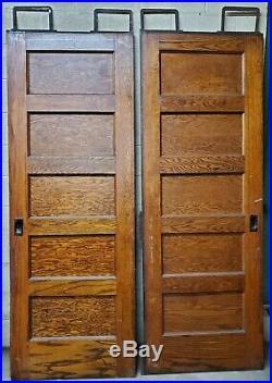 VINTAGE PAIR of OAK WOOD SLIDING POCKET DOORS with HARDWARE