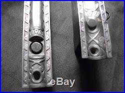 Very Ornate Pair Pocket Sliding Door Mortise Lock Self Align Fancy Face with KEY