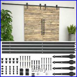 VidaXL Sliding Door Hardware Kit 0.8x72 Steel Black Sliding Door Roller