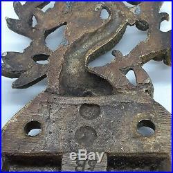 Vintage Antique Door Lock Slide Ornate Fish Serpent Signed Door Hardware