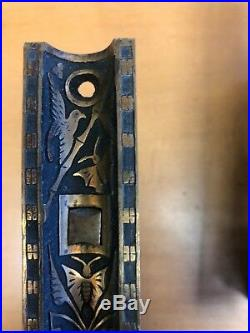 Vintage Dual Sliding Pocket Door Hardware (Exquisite Art Deco Pattern)