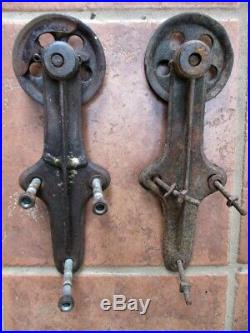 Vintage Pair, SLIDING BARN DOOR HARDWARE, 2 Iron ROLLERS & HINGES, 4 Diam