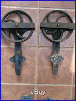 Vintage Pair, SLIDING BARN DOOR HARDWARE, 2 Iron ROLLERS & HINGES, 9 3/4Diam