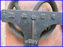 Vintage SLIDING BARN DOOR HARDWARE, 2 Iron ROLLERS & HINGES, 5 7/8 Diam