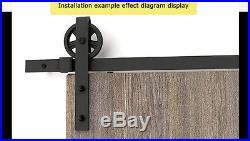 Vintage Strap Industrial Wheel Sliding Wood Door Hardware Track Kit 8ft