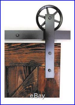 Vintage flat Wheel single Sliding Barn Wood Door Hardware Track 4 12 ft