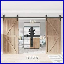 WINSOON 11FT Wood Double Sliding Barn Door Hardware Basic Black Big Spoke Wheel