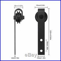 WINSOON 5FT Double Black Steel Bending Wheel Mini Sliding Barn Door Hardware for