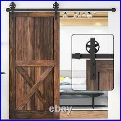 WINSOON 5-16FT Single Wood Sliding Barn Door Hardware Basic Black Big Spoke Whee