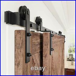 WINSOON 6.6FT Single Track Bypass Sliding Barn Door Hardware Kit for Double Door