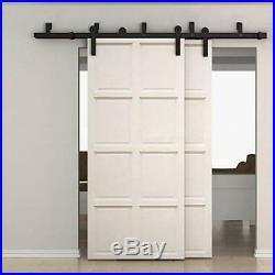 WINSOON Double Bypass Sliding Barn Door Hardware 11ft/132 Kit, Rustic Black