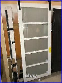 White MDF Frosted Glass 5-Lite Rustic Sliding Barn Door 36x84 with hardware kit