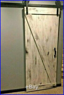 White wash-Barn door PLUS 6.6 ft sliding hardware kit! Rustic, vintage, farmhouse