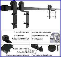 Winsoon 14FT Single Track Bypass Sliding Barn Door Hardware Rail Kit For 2 Doors