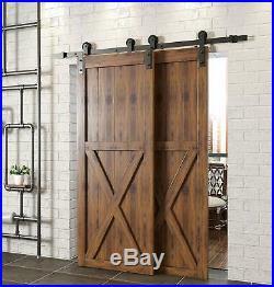 Winsoon 15FT Single Track Bypass Sliding Barn Door Hardware Rail Kit For 2 Doors