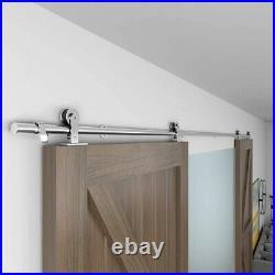 Winsoon 5-16FT Sliding Barn Door Hardware Stainless Track Kit for Double Doors