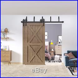 Winsoon 6FT Bypass Sliding Barn Door Hardware Kit Closet 2 Doors Black Wheel