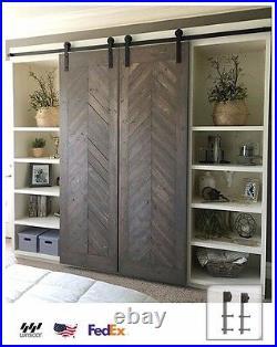 Winsoon 8Ft Straight Design Double Door Kit Sliding Barn Door Hardware