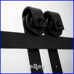 Wood Sliding Barn Door Hardware Kit 9FT Black Rollers for Interior Single Door