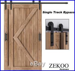 ZEKOO 4 FT- 12 FT Bypass Sliding Barn Door Hardware Kit, Single Track, Double