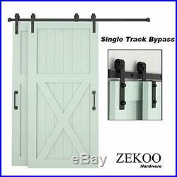 ZEKOO 5.5ft Bypass Sliding Barn Door Hardware Kit Single Track Double Wooden