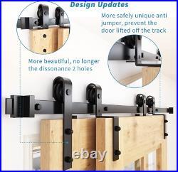 ZEKOO 6.6FT Bypass Sliding Barn Door Hardware Kit, Single Track, Double Wooden