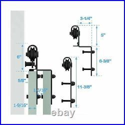 ZEKOO Bypass 11FT Sliding Barn Door Hardware Kit Single Track Double Door Use