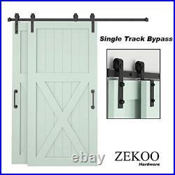 ZEKOO Bypass Sliding Barn Door Hardware Kit, Single Track, Double Wooden Doors 5